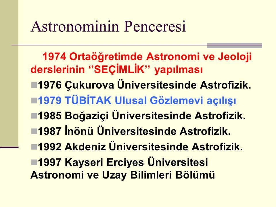 Astronominin Penceresi 1974 Ortaöğretimde Astronomi ve Jeoloji derslerinin ''SEÇİMLİK'' yapılması 1976 Çukurova Üniversitesinde Astrofizik.