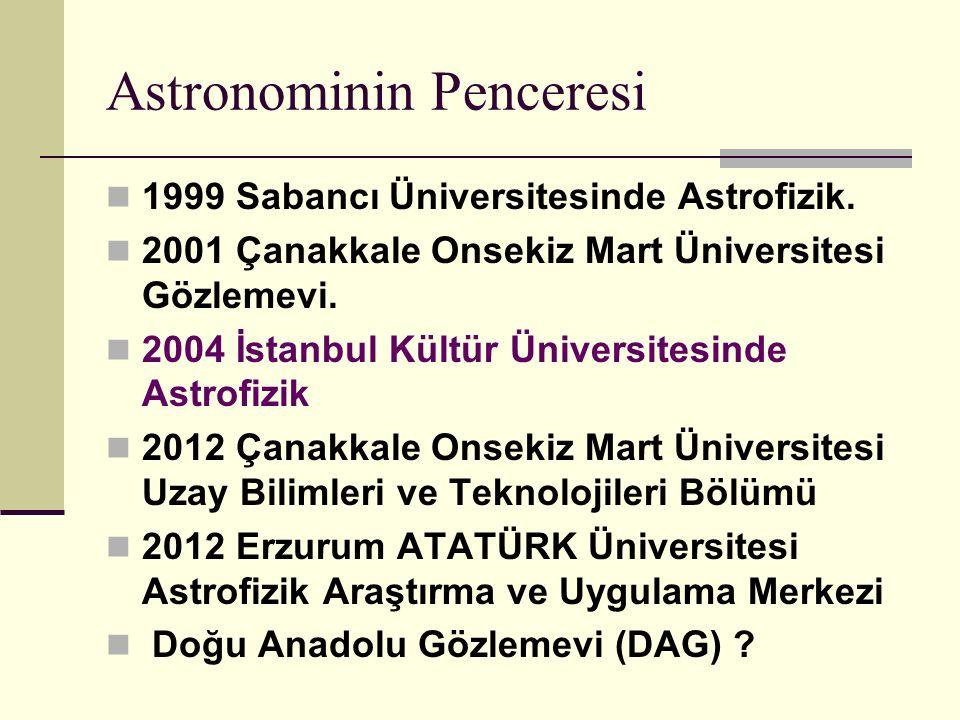 Astronominin Penceresi 1999 Sabancı Üniversitesinde Astrofizik.