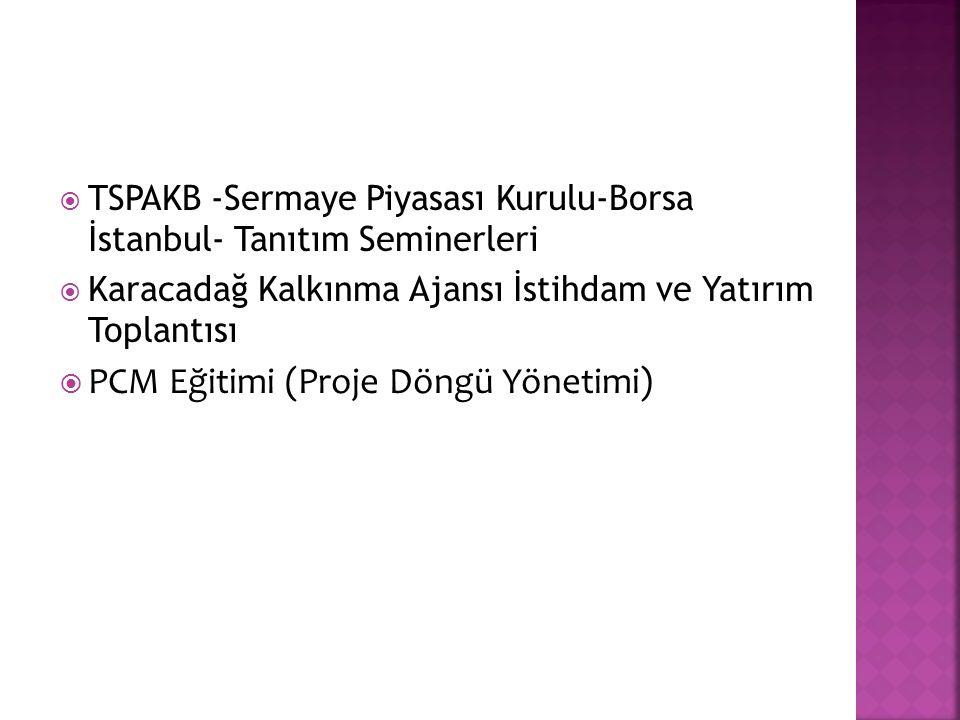  TSPAKB -Sermaye Piyasası Kurulu-Borsa İstanbul- Tanıtım Seminerleri  Karacadağ Kalkınma Ajansı İstihdam ve Yatırım Toplantısı  PCM Eğitimi (Proje