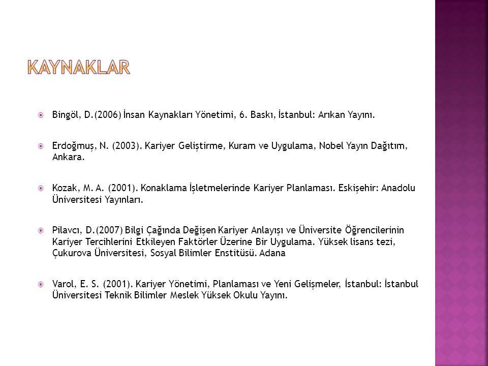  Bingöl, D.(2006) İnsan Kaynakları Yönetimi, 6. Baskı, İstanbul: Arıkan Yayını.  Erdoğmuş, N. (2003). Kariyer Geliştirme, Kuram ve Uygulama, Nobel Y