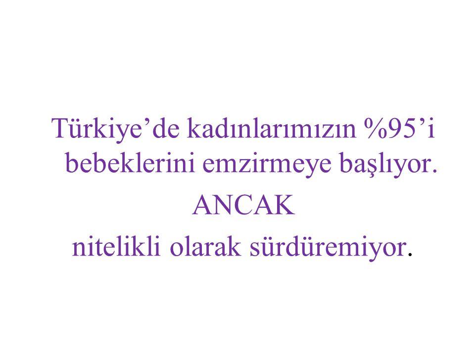 Türkiye'de kadınlarımızın %95'i bebeklerini emzirmeye başlıyor.