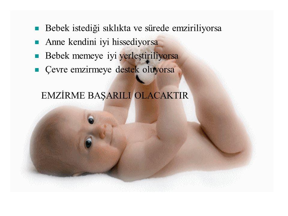 Bebek istediği sıklıkta ve sürede emziriliyorsa Anne kendini iyi hissediyorsa Bebek memeye iyi yerleştiriliyorsa Çevre emzirmeye destek oluyorsa EMZİRME BAŞARILI OLACAKTIR