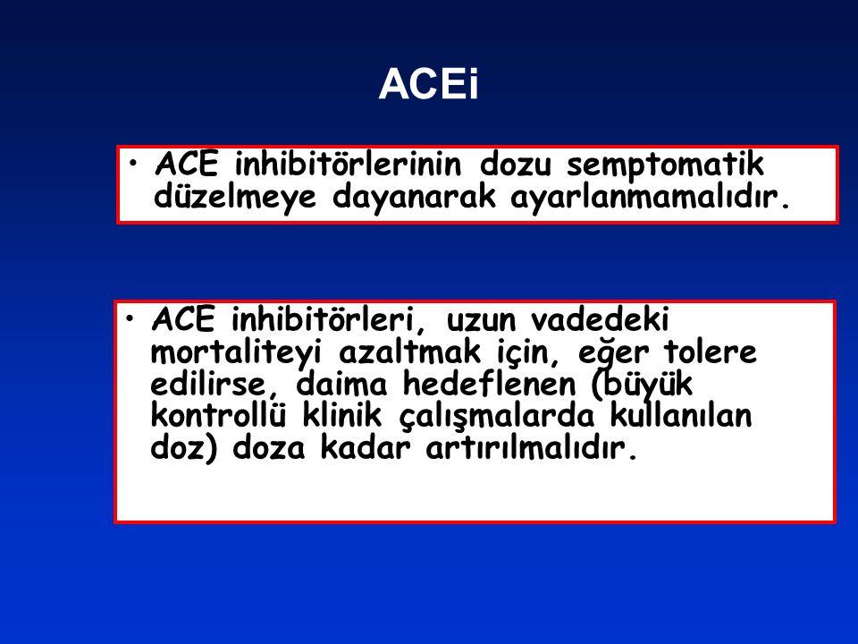 ACEi ACE inhibitörlerinin dozu semptomatik düzelmeye dayanarak ayarlanmamalıdır. ACE inhibitörleri, uzun vadedeki mortaliteyi azaltmak için, eğer tole