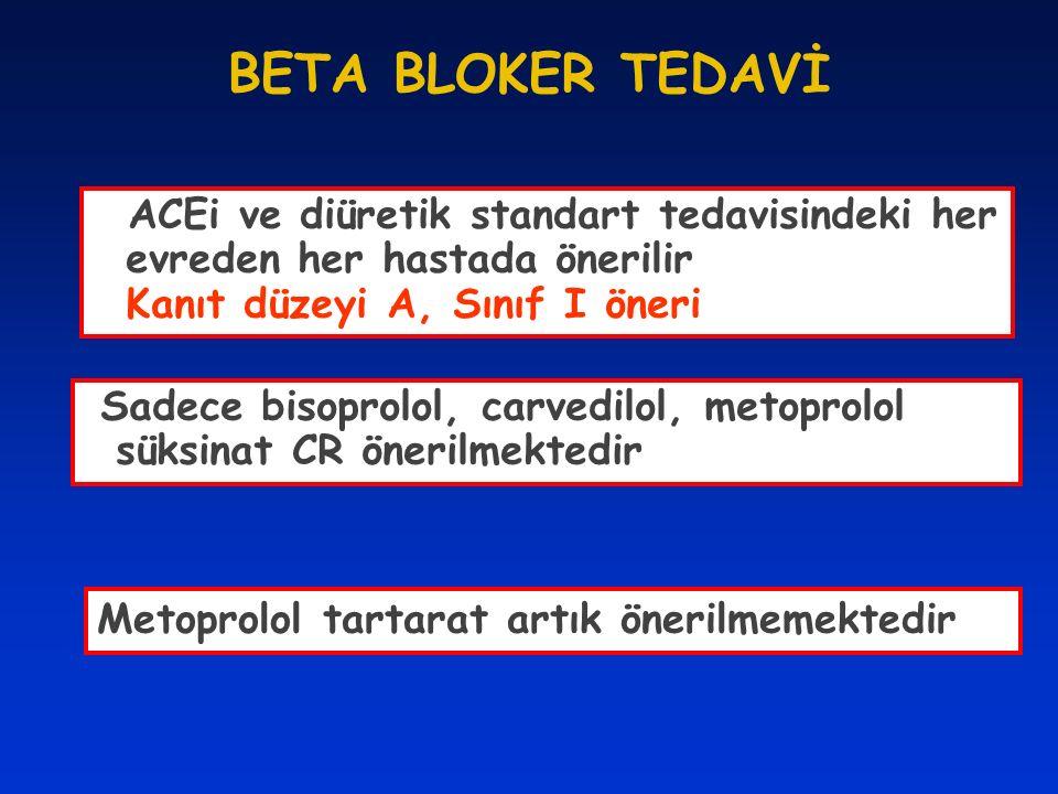 BETA BLOKER TEDAVİ ACEi ve diüretik standart tedavisindeki her evreden her hastada önerilir Kanıt düzeyi A, Sınıf I öneri Sadece bisoprolol, carvedilo