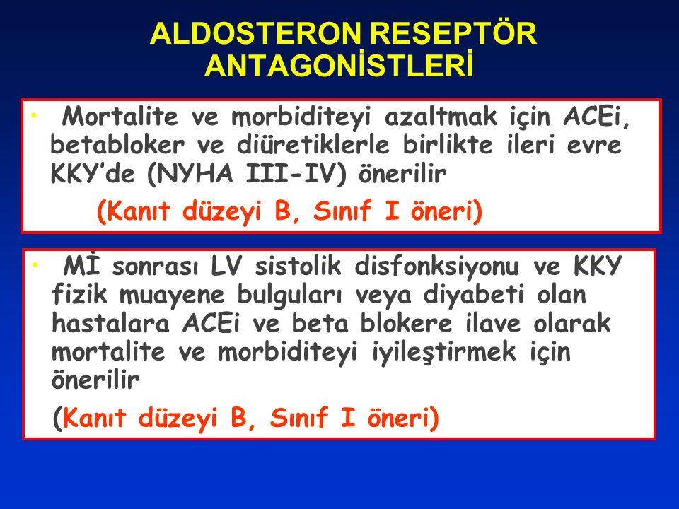 ALDOSTERON RESEPTÖR ANTAGONİSTLERİ Mortalite ve morbiditeyi azaltmak için ACEi, betabloker ve diüretiklerle birlikte ileri evre KKY'de (NYHA III-IV) ö