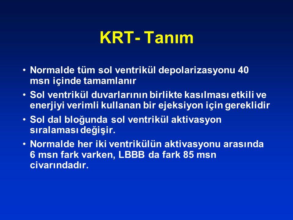 KRT- Tanım Normalde tüm sol ventrikül depolarizasyonu 40 msn içinde tamamlanır Sol ventrikül duvarlarının birlikte kasılması etkili ve enerjiyi veriml