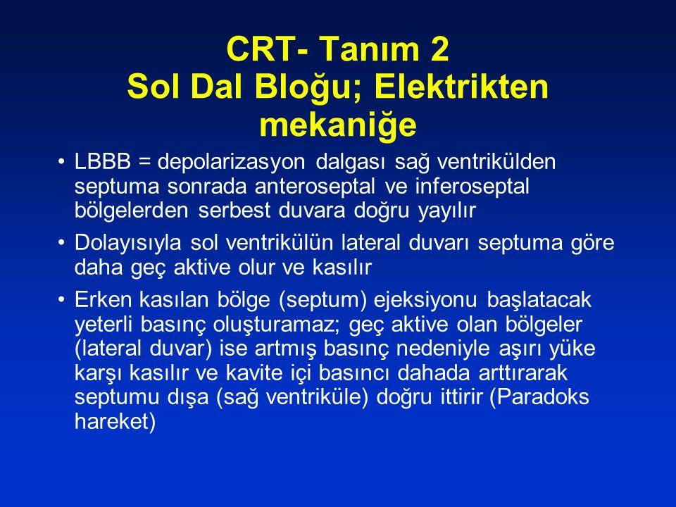 CRT- Tanım 2 Sol Dal Bloğu; Elektrikten mekaniğe LBBB = depolarizasyon dalgası sağ ventrikülden septuma sonrada anteroseptal ve inferoseptal bölgelerd