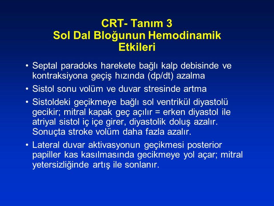CRT- Tanım 3 Sol Dal Bloğunun Hemodinamik Etkileri Septal paradoks harekete bağlı kalp debisinde ve kontraksiyona geçiş hızında (dp/dt) azalma Sistol