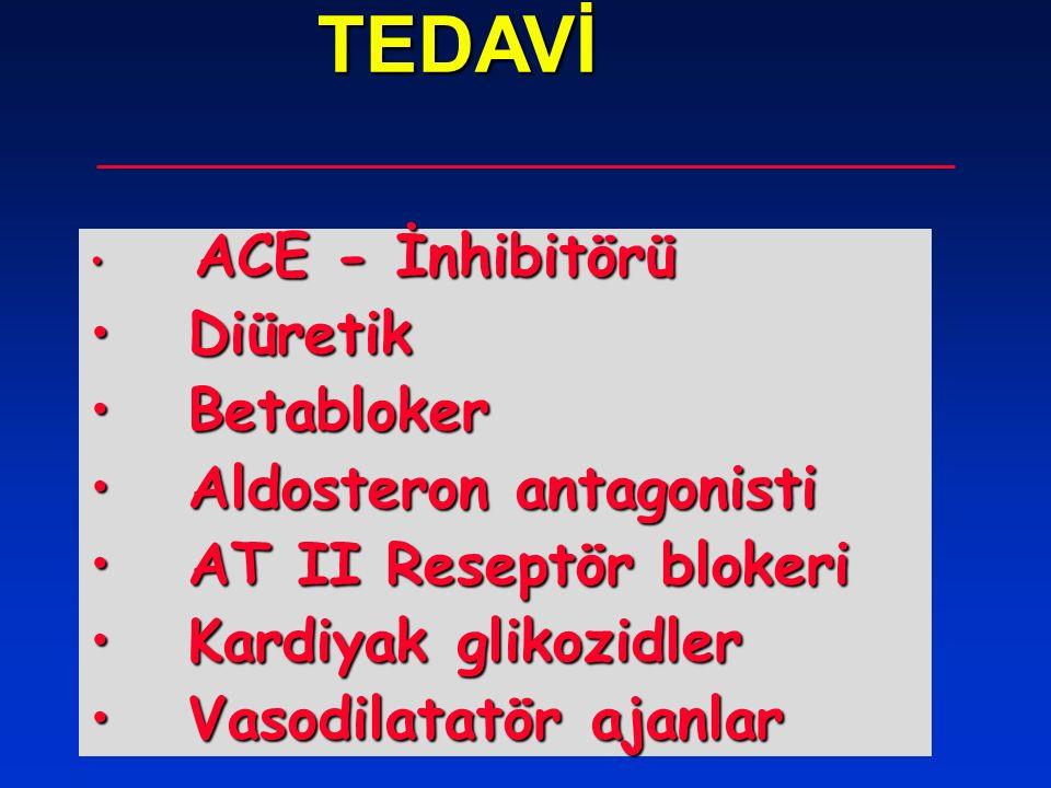 TEDAVİ TEDAVİ ACE - İnhibitörü ACE - İnhibitörü Diüretik Diüretik Betabloker Betabloker Aldosteron antagonisti Aldosteron antagonisti AT II Reseptör b