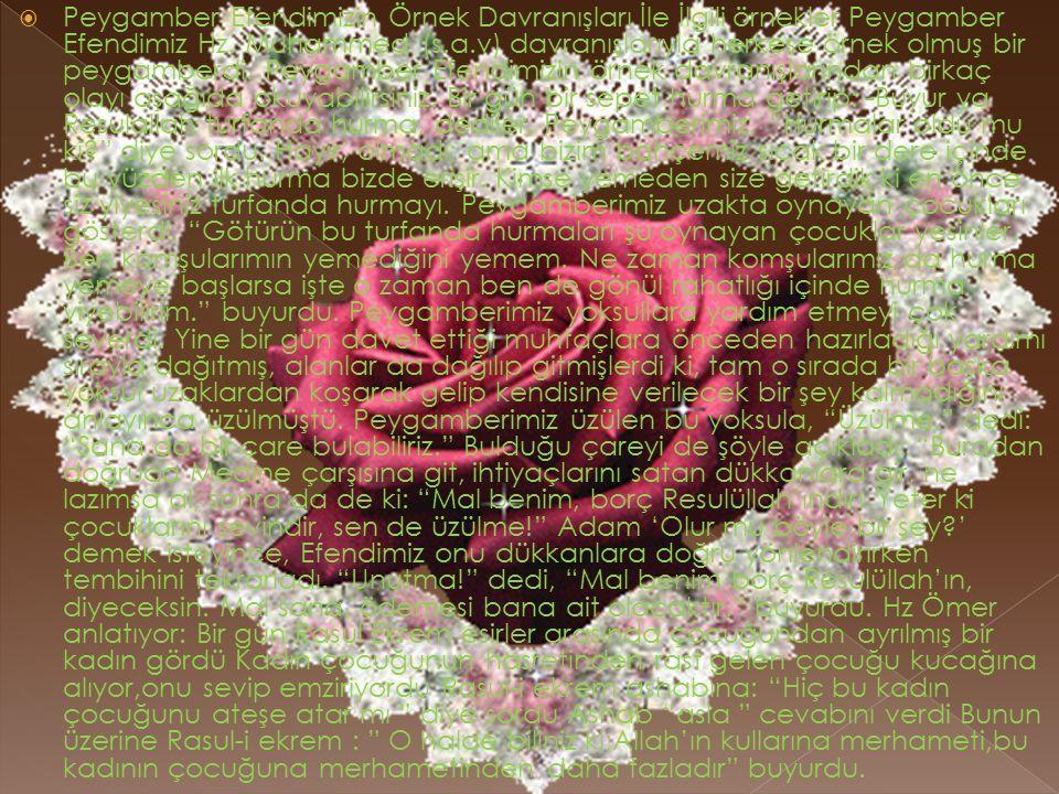  Peygamber Efendimizin Örnek Davranışları İle İlgili örnekler Peygamber Efendimiz Hz. Muhammed (s.a.v) davranışlarıyla herkese örnek olmuş bir peygam