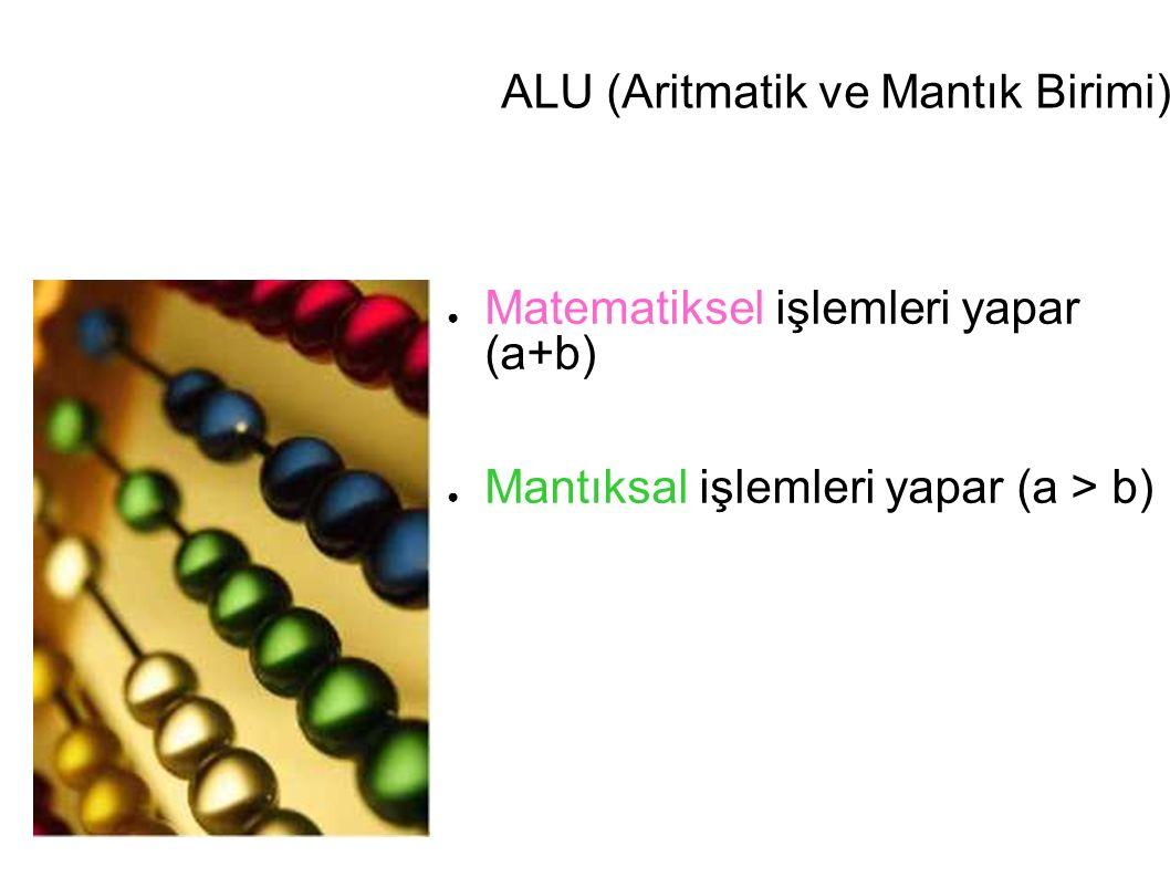 ALU (Aritmatik ve Mantık Birimi) ● Matematiksel işlemleri yapar (a+b) ● Mantıksal işlemleri yapar (a > b)