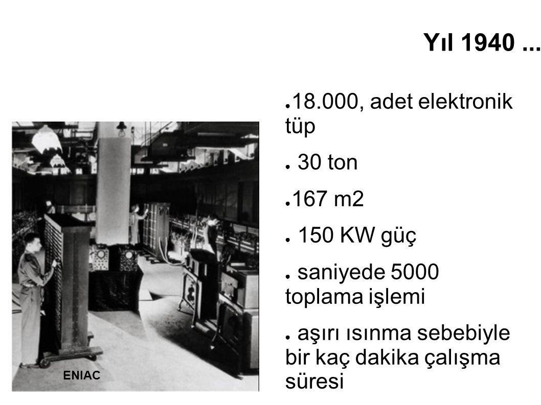 Yıl 1940... ● 18.000, adet elektronik tüp ● 30 ton ● 167 m2 ● 150 KW güç ● saniyede 5000 toplama işlemi ● aşırı ısınma sebebiyle bir kaç dakika çalışm