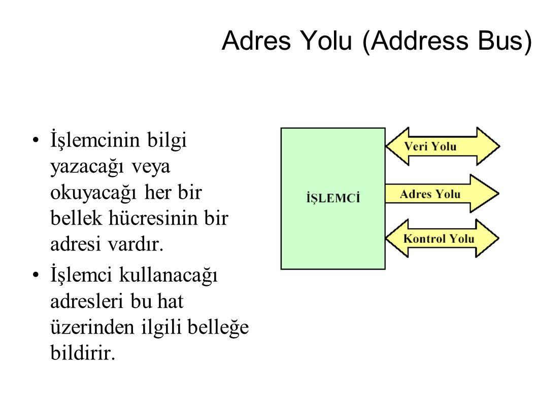 Adres Yolu (Address Bus) İşlemcinin bilgi yazacağı veya okuyacağı her bir bellek hücresinin bir adresi vardır. İşlemci kullanacağı adresleri bu hat üz