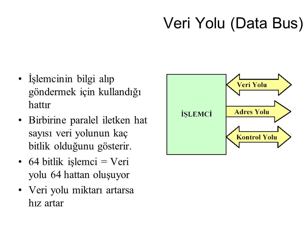 Veri Yolu (Data Bus) İşlemcinin bilgi alıp göndermek için kullandığı hattır Birbirine paralel iletken hat sayısı veri yolunun kaç bitlik olduğunu göst