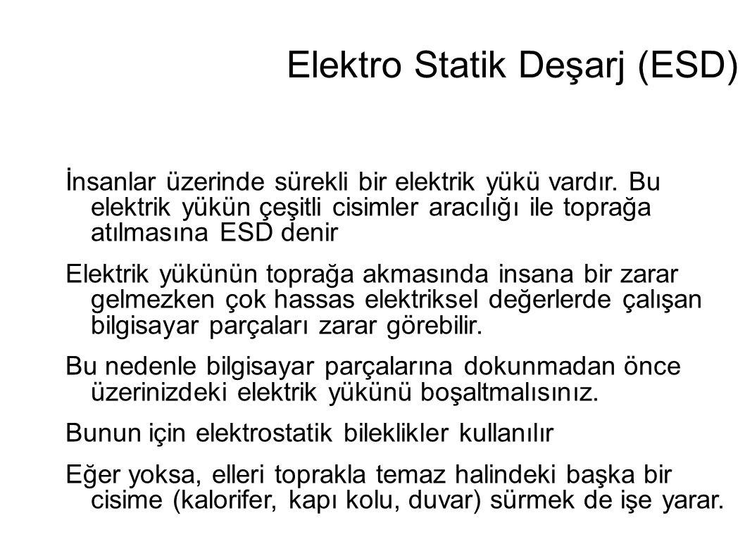 Elektro Statik Deşarj (ESD) İnsanlar üzerinde sürekli bir elektrik yükü vardır. Bu elektrik yükün çeşitli cisimler aracılığı ile toprağa atılmasına ES