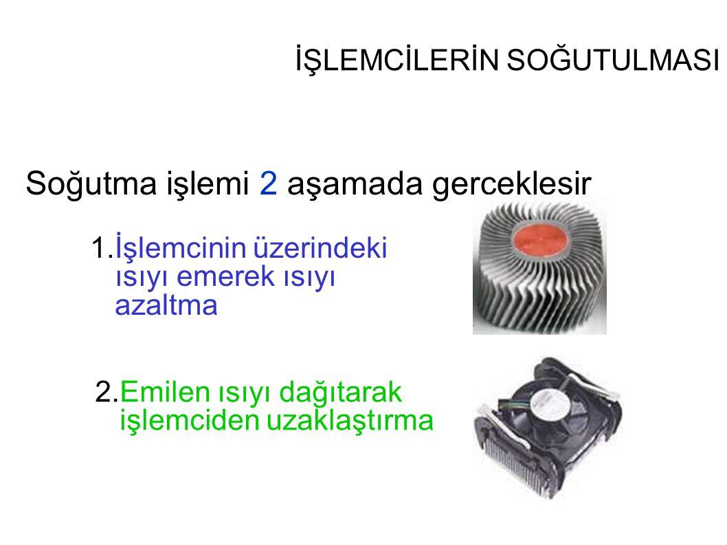 İŞLEMCİLERİN SOĞUTULMASI Soğutma işlemi 2 aşamada gerçekleşir 1.İşlemcinin üzerindeki ısıyı emerek ısıyı azaltma 2.Emilen ısıyı dağıtarak işlemciden u