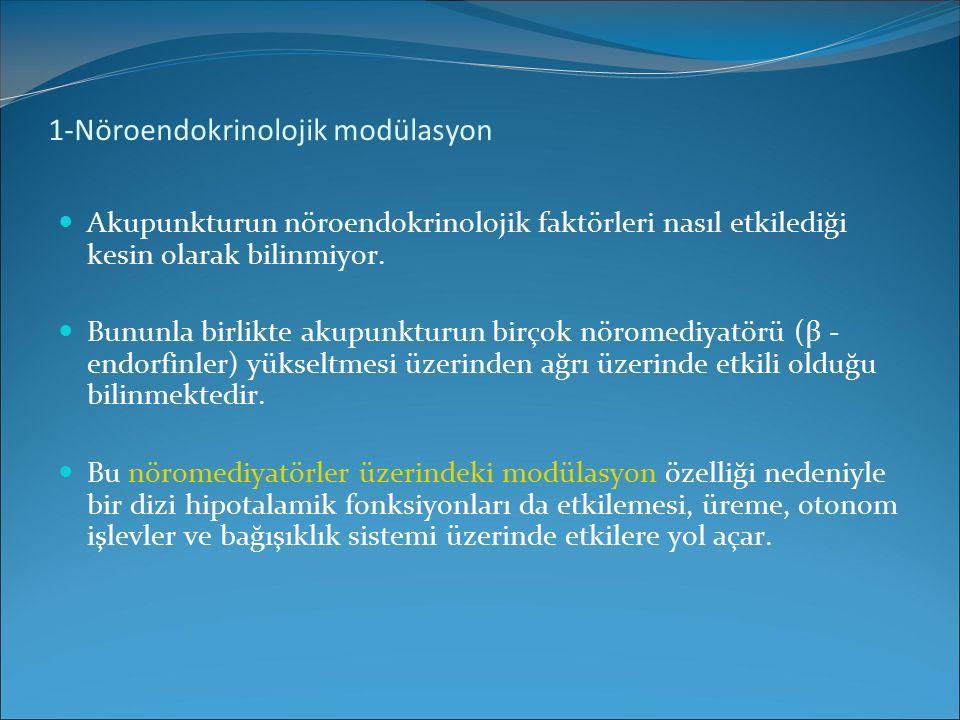 1-Nöroendokrinolojik modülasyon Akupunkturun nöroendokrinolojik faktörleri nasıl etkilediği kesin olarak bilinmiyor. Bununla birlikte akupunkturun bir
