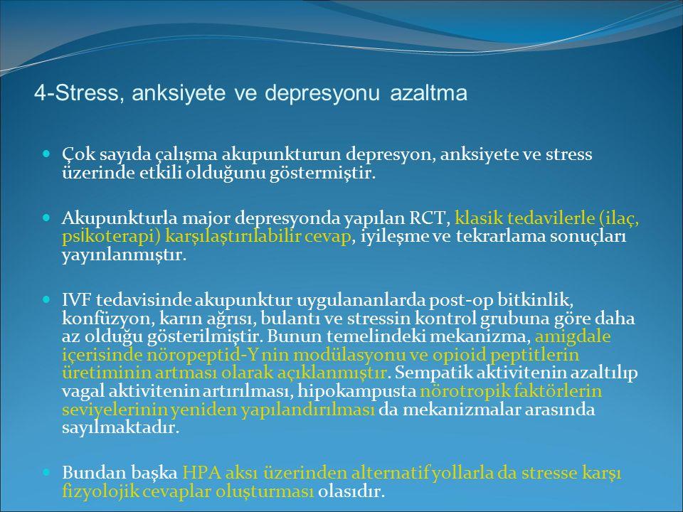 4-Stress, anksiyete ve depresyonu azaltma Çok sayıda çalışma akupunkturun depresyon, anksiyete ve stress üzerinde etkili olduğunu göstermiştir. Akupun