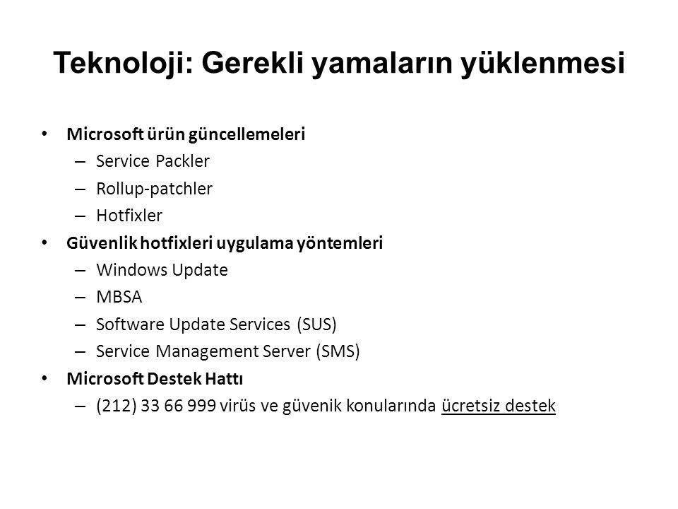 Teknoloji: Gerekli yamaların yüklenmesi Microsoft ürün güncellemeleri – Service Packler – Rollup-patchler – Hotfixler Güvenlik hotfixleri uygulama yöntemleri – Windows Update – MBSA – Software Update Services (SUS) – Service Management Server (SMS) Microsoft Destek Hattı – (212) 33 66 999 virüs ve güvenik konularında ücretsiz destek