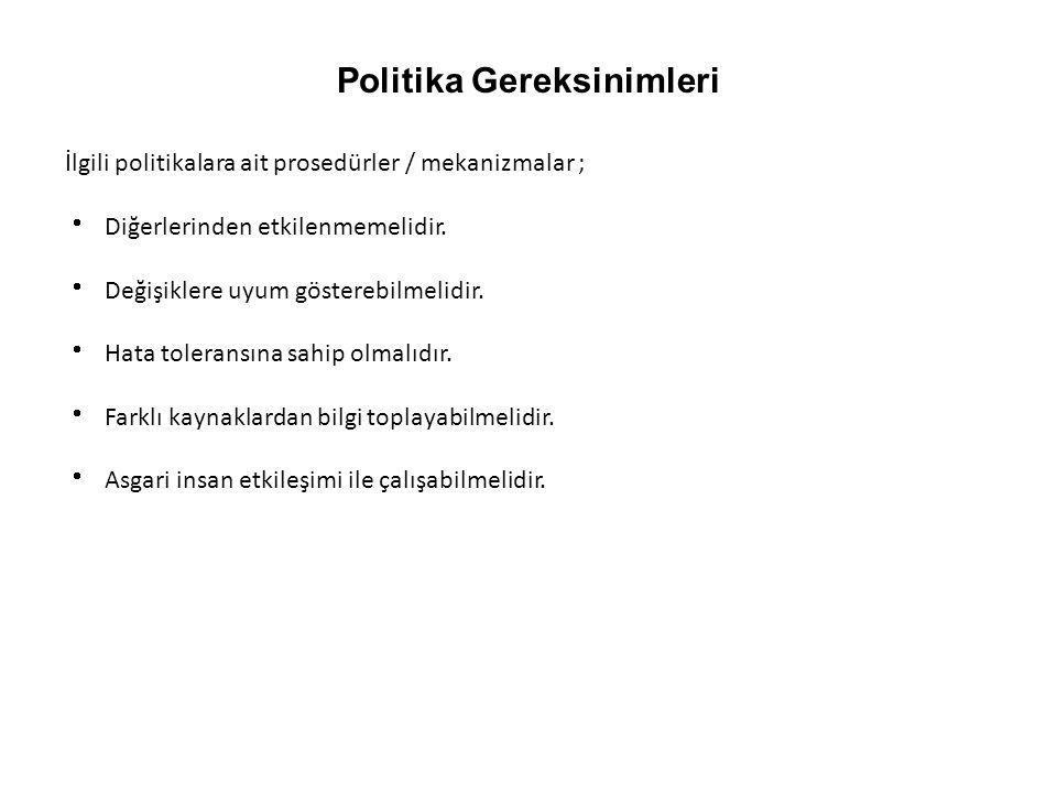 Politika Gereksinimleri İlgili politikalara ait prosedürler / mekanizmalar ;  Diğerlerinden etkilenmemelidir.