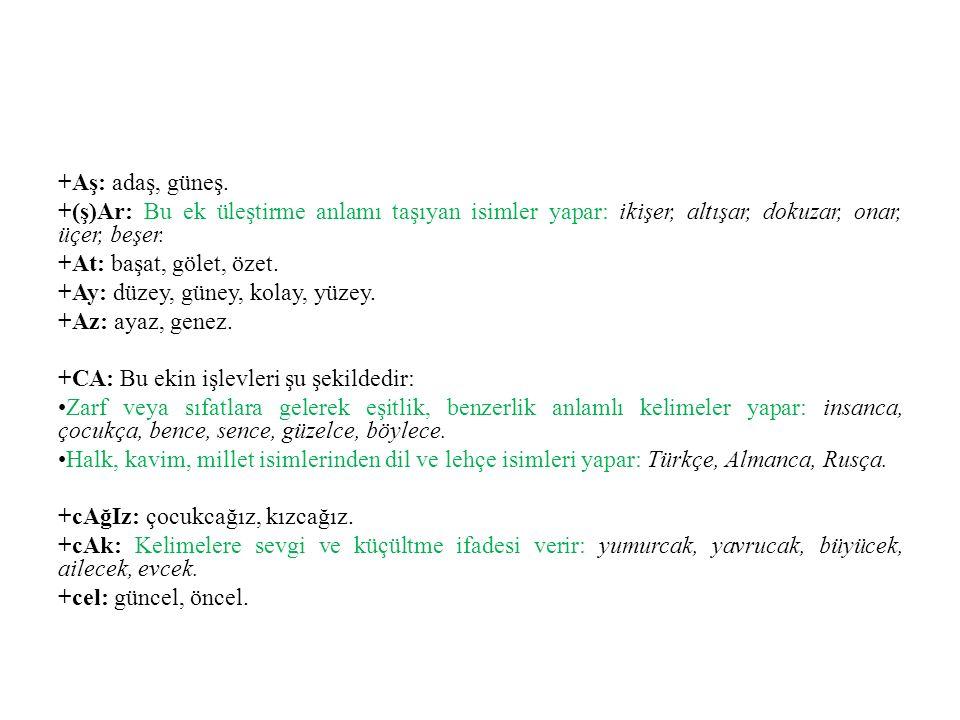 +CI, +CU: Bu ekin işlevleri şu şekildedir: İş ve meslek isimleri yapar: avcı, gözlükçü, sütçü, savcı, gözcü.