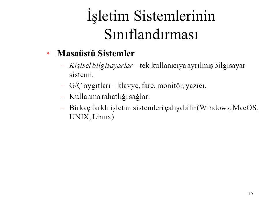 15 İşletim Sistemlerinin Sınıflandırması Masaüstü Sistemler –Kişisel bilgisayarlar – tek kullanıcıya ayrılmış bilgisayar sistemi. –G/Ç aygıtları – kla