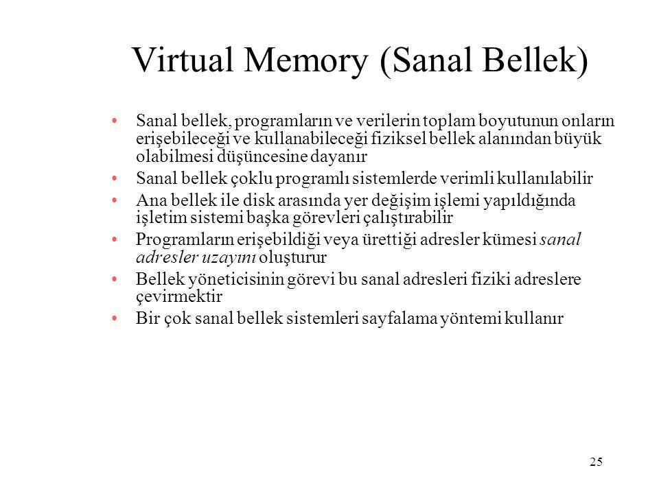25 Virtual Memory (Sanal Bellek) Sanal bellek, programların ve verilerin toplam boyutunun onların erişebileceği ve kullanabileceği fiziksel bellek ala