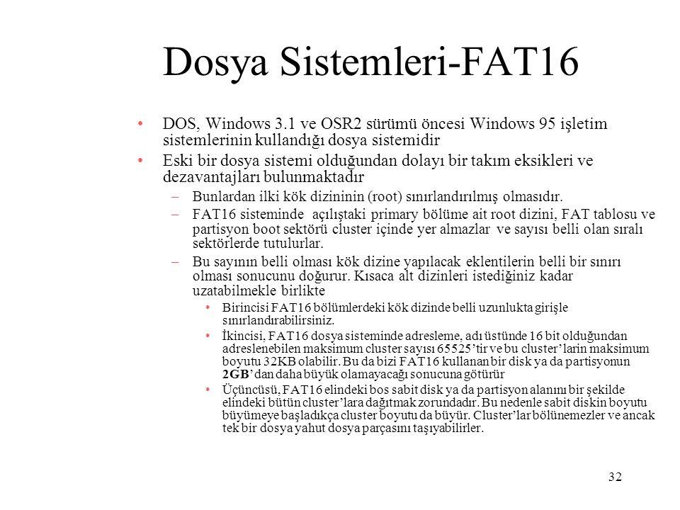 32 Dosya Sistemleri-FAT16 DOS, Windows 3.1 ve OSR2 sürümü öncesi Windows 95 işletim sistemlerinin kullandığı dosya sistemidir Eski bir dosya sistemi o