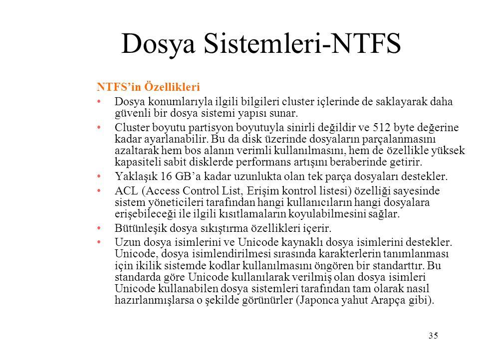 35 Dosya Sistemleri-NTFS NTFS'in Özellikleri Dosya konumlarıyla ilgili bilgileri cluster içlerinde de saklayarak daha güvenli bir dosya sistemi yapısı