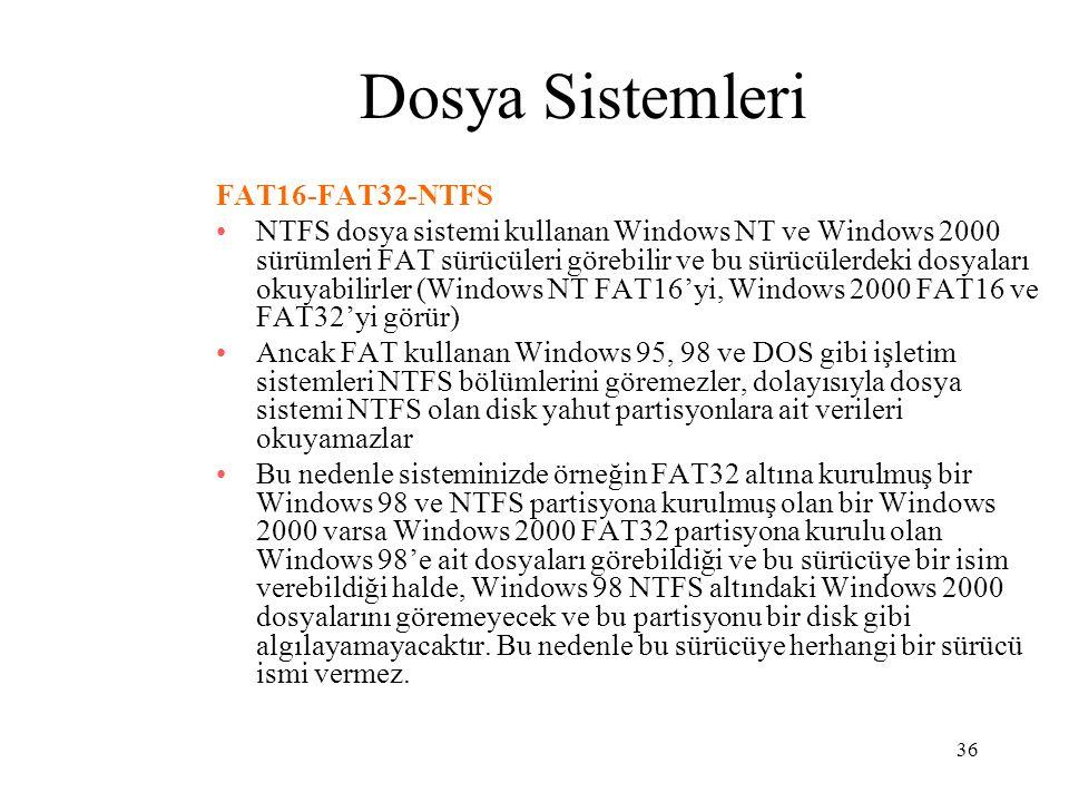 36 Dosya Sistemleri FAT16-FAT32-NTFS NTFS dosya sistemi kullanan Windows NT ve Windows 2000 sürümleri FAT sürücüleri görebilir ve bu sürücülerdeki dos