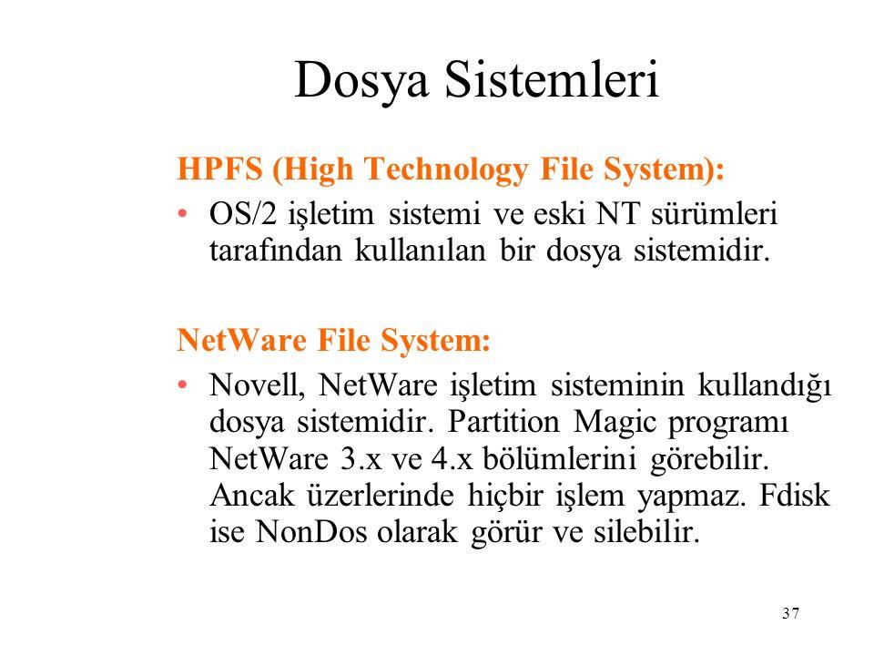 37 Dosya Sistemleri HPFS (High Technology File System): OS/2 işletim sistemi ve eski NT sürümleri tarafından kullanılan bir dosya sistemidir. NetWare