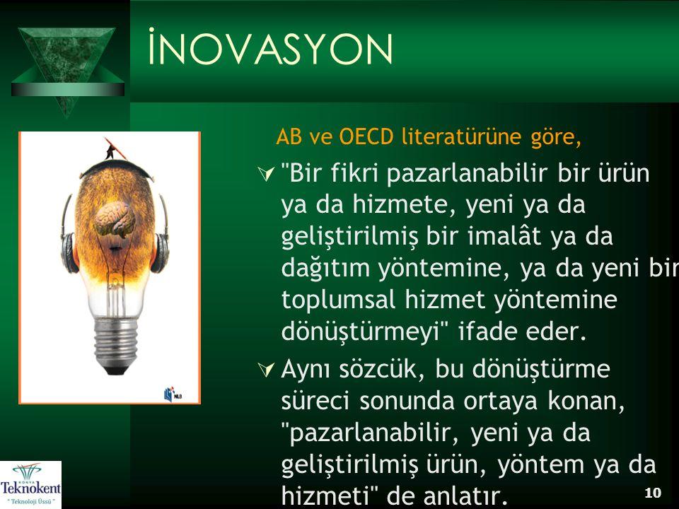 10 İNOVASYON AB ve OECD literatürüne göre, 