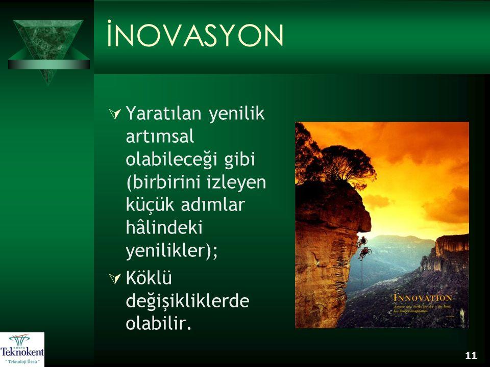 11 İNOVASYON  Yaratılan yenilik artımsal olabileceği gibi (birbirini izleyen küçük adımlar hâlindeki yenilikler);  Köklü değişikliklerde olabilir.
