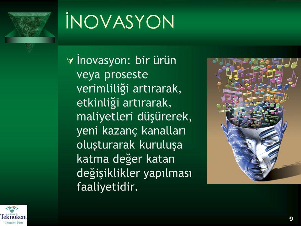9 İNOVASYON  İnovasyon: bir ürün veya proseste verimliliği artırarak, etkinliği artırarak, maliyetleri düşürerek, yeni kazanç kanalları oluşturarak k