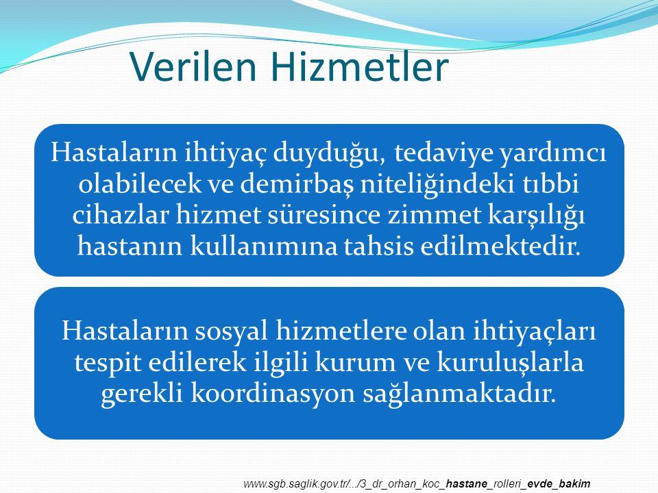 Verilen Hizmetler Sosyal ve Destek Hizmetler Tedavi Hizmetleri www.sgb.saglik.gov.tr/.../3_dr_orhan_koc_hastane_rolleri_evde_bakim