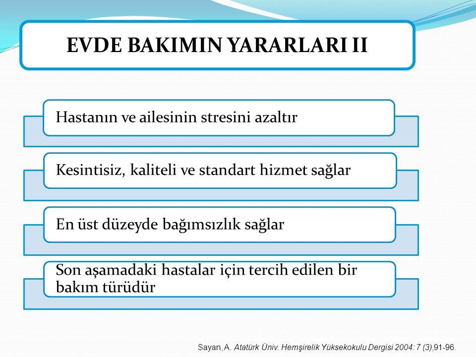 EVDE BAKIMIN YARARLARI II Sayan, A. Atatürk Üniv. Hemşirelik Yüksekokulu Dergisi 2004: 7 (3),91-96.