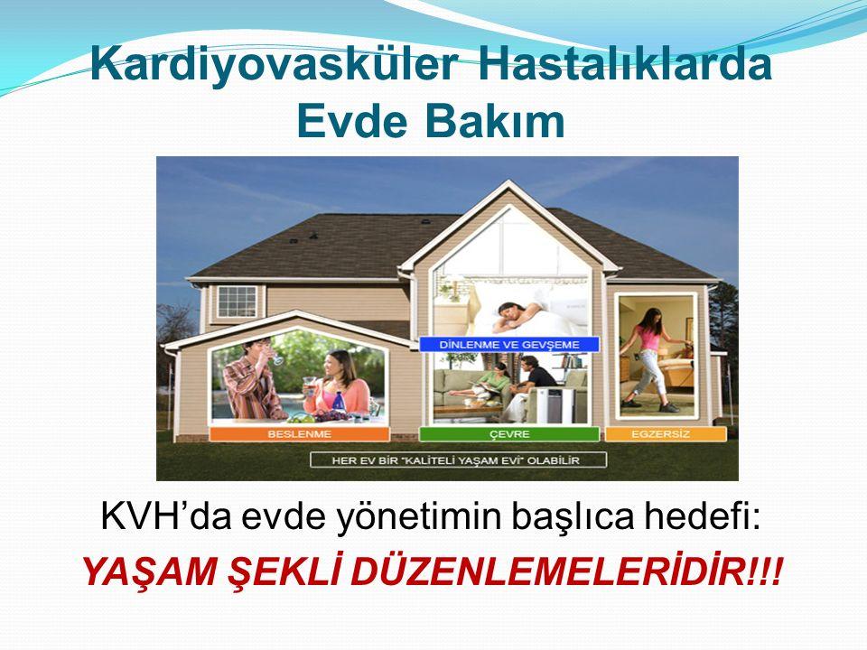 KVH'da evde yönetimin başlıca hedefi: YAŞAM ŞEKLİ DÜZENLEMELERİDİR!!! Kardiyovasküler Hastalıklarda Evde Bakım