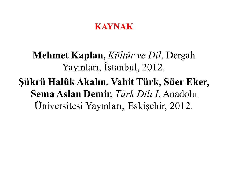 KAYNAK Mehmet Kaplan, Kültür ve Dil, Dergah Yayınları, İstanbul, 2012.