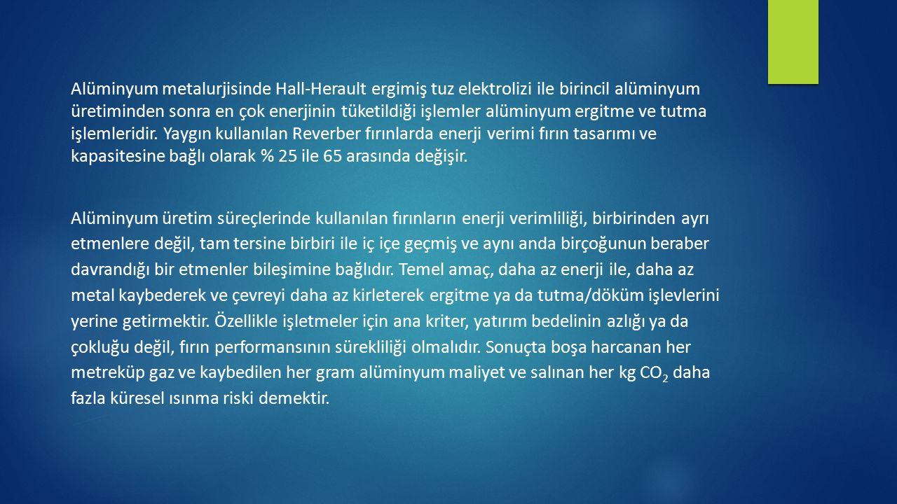 Alüminyum metalurjisinde Hall-Herault ergimiş tuz elektrolizi ile birincil alüminyum üretiminden sonra en çok enerjinin tüketildiği işlemler alüminyum
