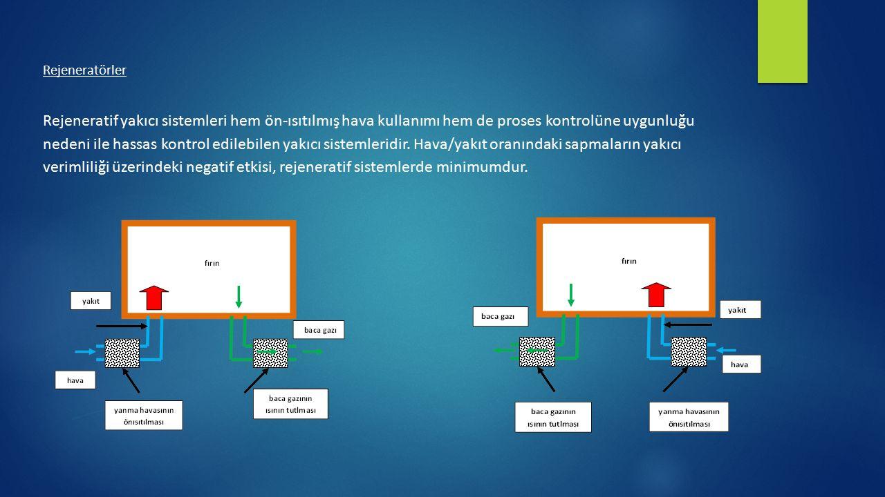 Rejeneratörler Rejeneratif yakıcı sistemleri hem ön-ısıtılmış hava kullanımı hem de proses kontrolüne uygunluğu nedeni ile hassas kontrol edilebilen y