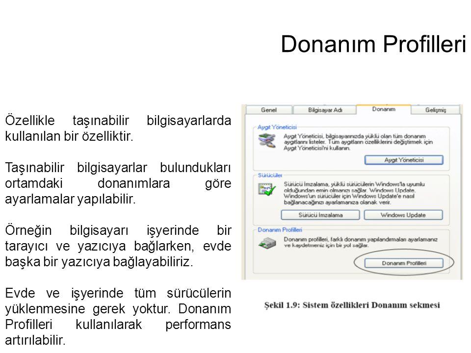 Donanım Profilleri Özellikle taşınabilir bilgisayarlarda kullanılan bir özelliktir. Taşınabilir bilgisayarlar bulundukları ortamdaki donanımlara göre
