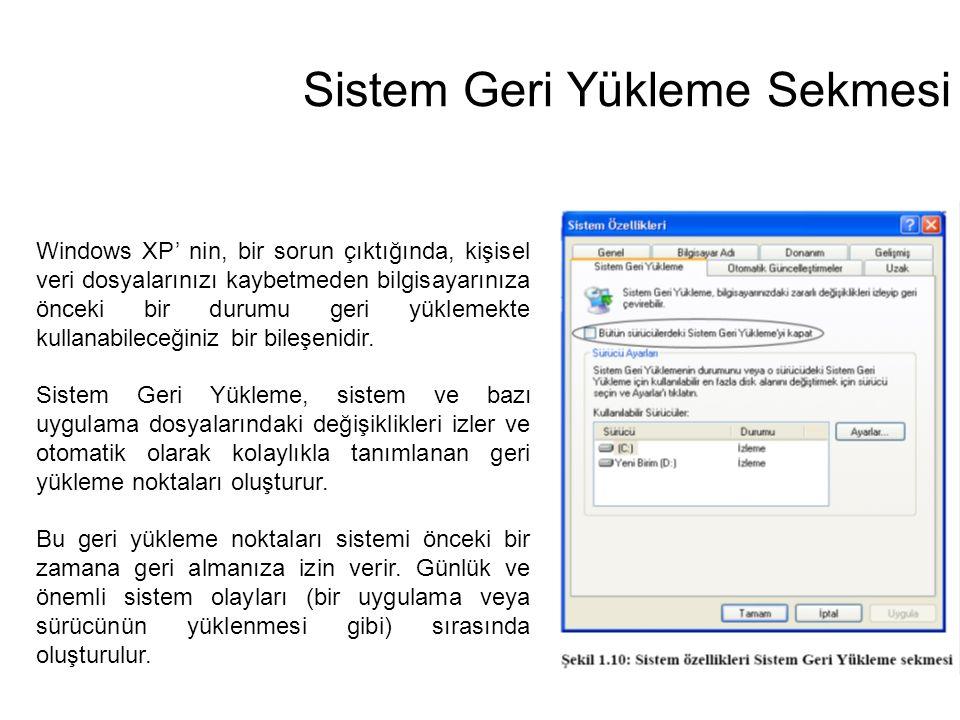 Sistem Geri Yükleme Sekmesi Windows XP' nin, bir sorun çıktığında, kişisel veri dosyalarınızı kaybetmeden bilgisayarınıza önceki bir durumu geri yükle
