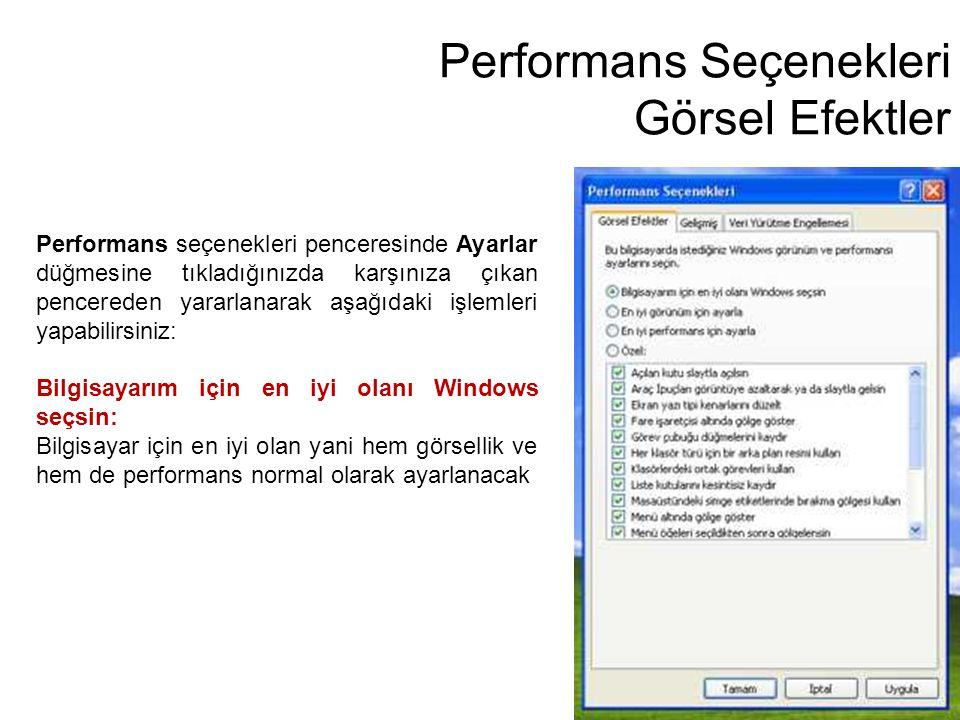 Performans Seçenekleri Görsel Efektler Performans seçenekleri penceresinde Ayarlar düğmesine tıkladığınızda karşınıza çıkan pencereden yararlanarak aş