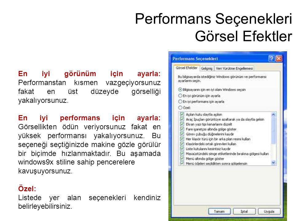 Performans Seçenekleri Görsel Efektler En iyi görünüm için ayarla: Performanstan kısmen vazgeçiyorsunuz fakat en üst düzeyde görselliği yakalıyorsunuz
