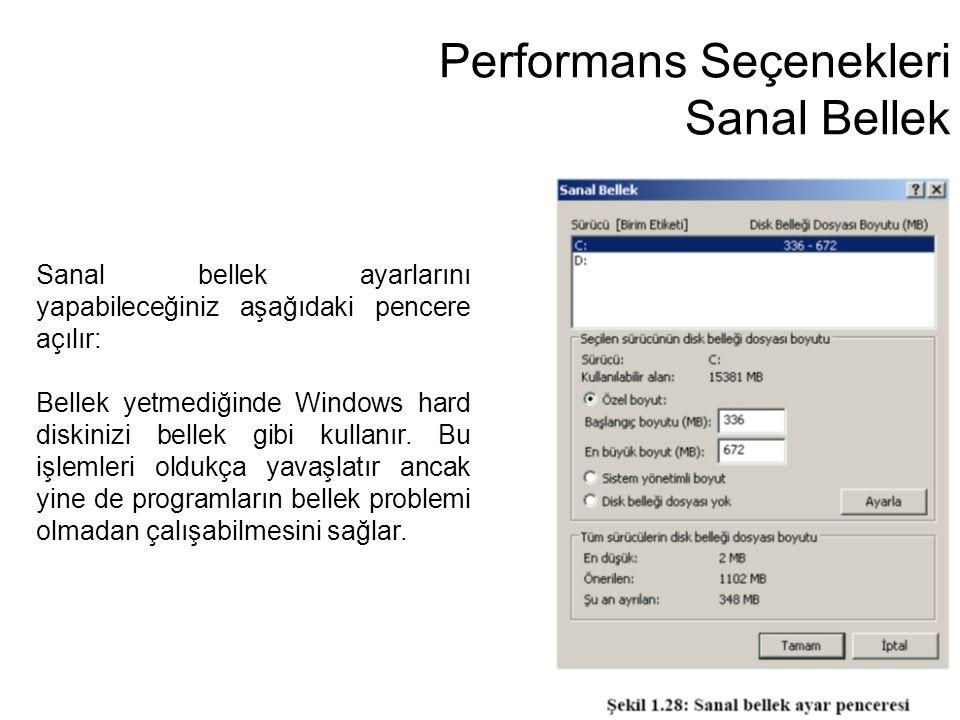 Performans Seçenekleri Sanal Bellek Sanal bellek ayarlarını yapabileceğiniz aşağıdaki pencere açılır: Bellek yetmediğinde Windows hard diskinizi belle