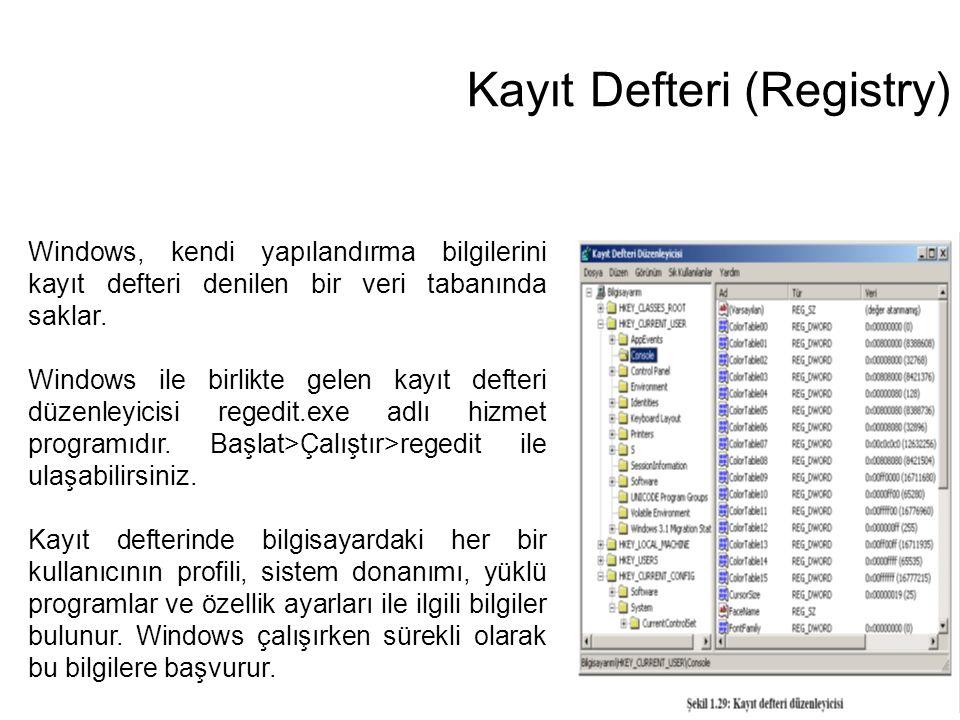Kayıt Defteri (Registry) Windows, kendi yapılandırma bilgilerini kayıt defteri denilen bir veri tabanında saklar. Windows ile birlikte gelen kayıt def