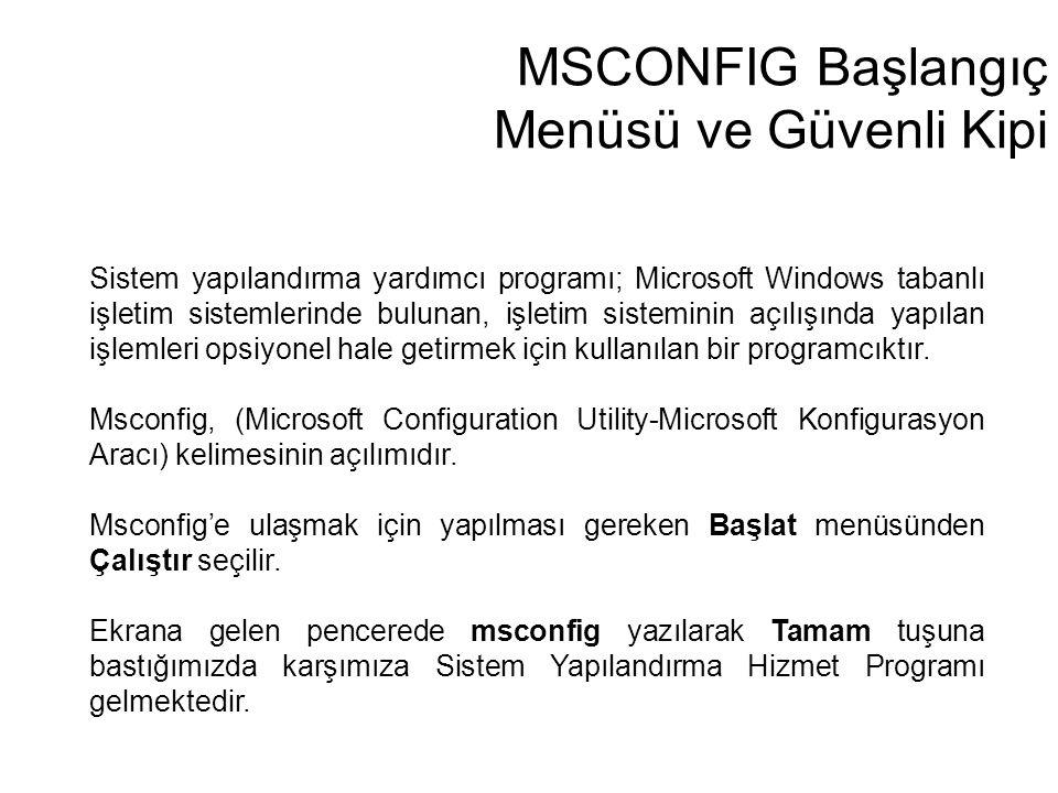 MSCONFIG Başlangıç Menüsü ve Güvenli Kipi Sistem yapılandırma yardımcı programı; Microsoft Windows tabanlı işletim sistemlerinde bulunan, işletim sist