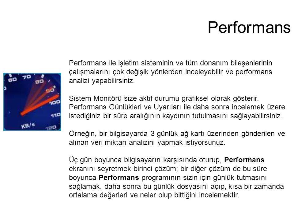 Performans Performans ile işletim sisteminin ve tüm donanım bileşenlerinin çalışmalarını çok değişik yönlerden inceleyebilir ve performans analizi yap