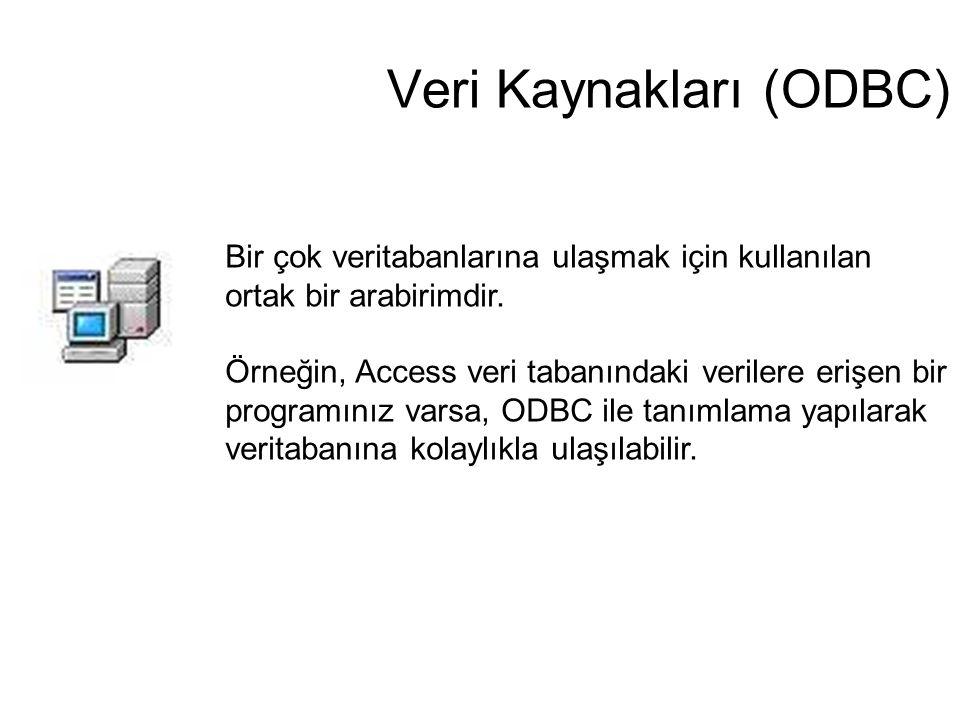 Veri Kaynakları (ODBC) Bir çok veritabanlarına ulaşmak için kullanılan ortak bir arabirimdir. Örneğin, Access veri tabanındaki verilere erişen bir pro