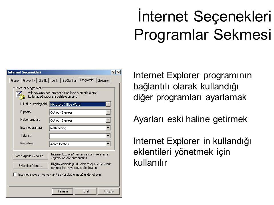 İnternet Seçenekleri Programlar Sekmesi Internet Explorer programının bağlantılı olarak kullandığı diğer programları ayarlamak Ayarları eski haline ge